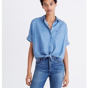 Madewell Denim Short Sleeved Tie Front Button Down